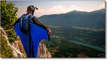 Base Jumper About to Jump